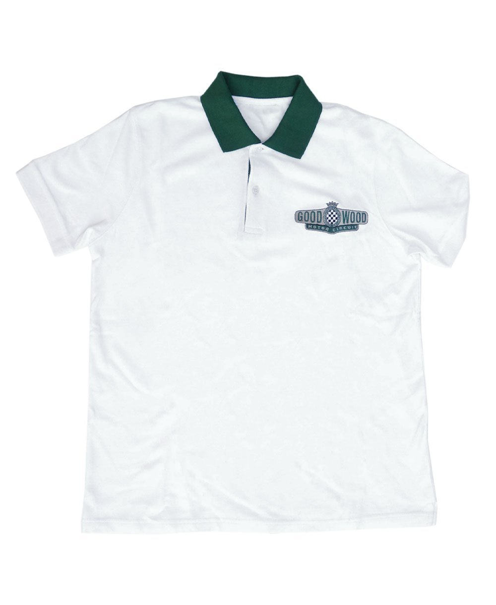 Goodwood Motor Circuit Cotton Mens White Green Polo Shirt
