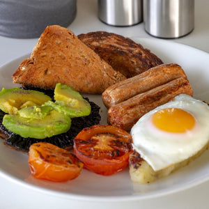 Goodwood's organic pork sausages, used in a traditional fry up recipe served at the Goodwood Aerodrome Café.