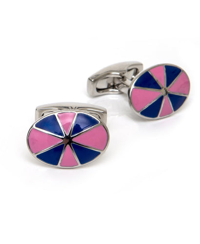 Goodwood Racecourse Jockey Hat Racing Colours Navy Pink Cufflinks