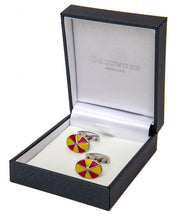 Load image into Gallery viewer, Goodwood Racecourse Jockey Hat Racing Colours Red Yellow Cufflinks Boxed