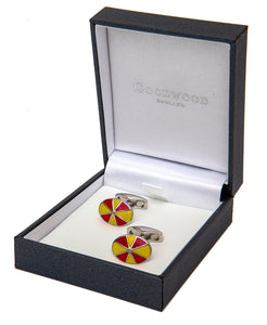 Goodwood Racecourse Jockey Hat Racing Colours Red Yellow Cufflinks Boxed