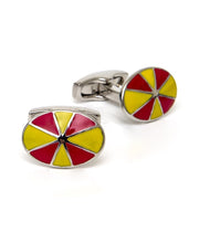 Load image into Gallery viewer, Goodwood Racecourse Jockey Hat Racing Colours Red Yellow Cufflinks