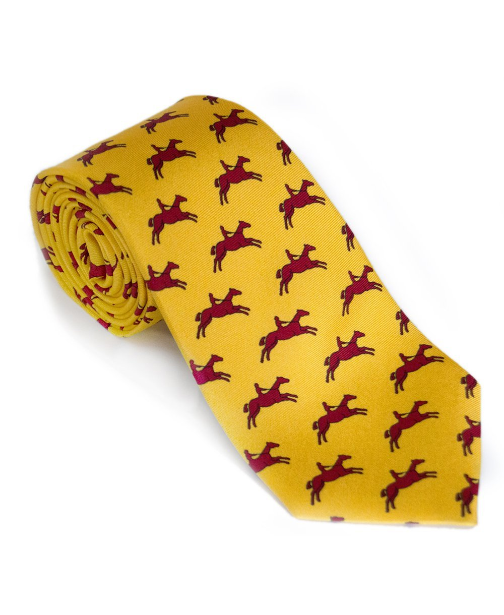 Goodwood Racecourse Silk Stubbs Horses Yellow Red Print Tie