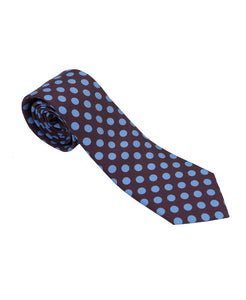 Racing Colours Silk Tie Burgundy/Blue Spot