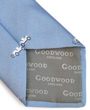 Load image into Gallery viewer, Goodwood Silk Cartoon Blue White Car Tie Detail