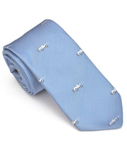 Load image into Gallery viewer, Goodwood Silk Cartoon Light Blue White Car Tie