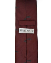 Load image into Gallery viewer, Goodwood Silk Cartoon Burgundy Black Car Tie Reverse