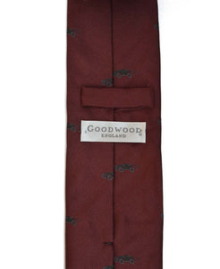 Goodwood Silk Cartoon Burgundy Black Car Tie Reverse