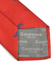 Load image into Gallery viewer, Goodwood Silk Cartoon Red Blue Car Tie Detail