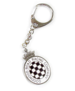 Goodwood White Chequerboard Key Chain
