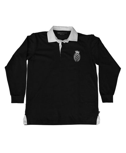 Mens Black Cotton GRRC Long Sleeved Rugby Shirt