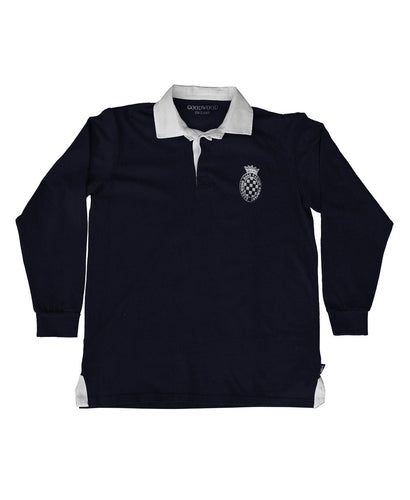 Mens Navy Cotton GRRC Long Sleeved Rugby Shirt