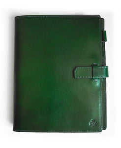 GRRC Leather A5 Journal in Green & Purple Top View