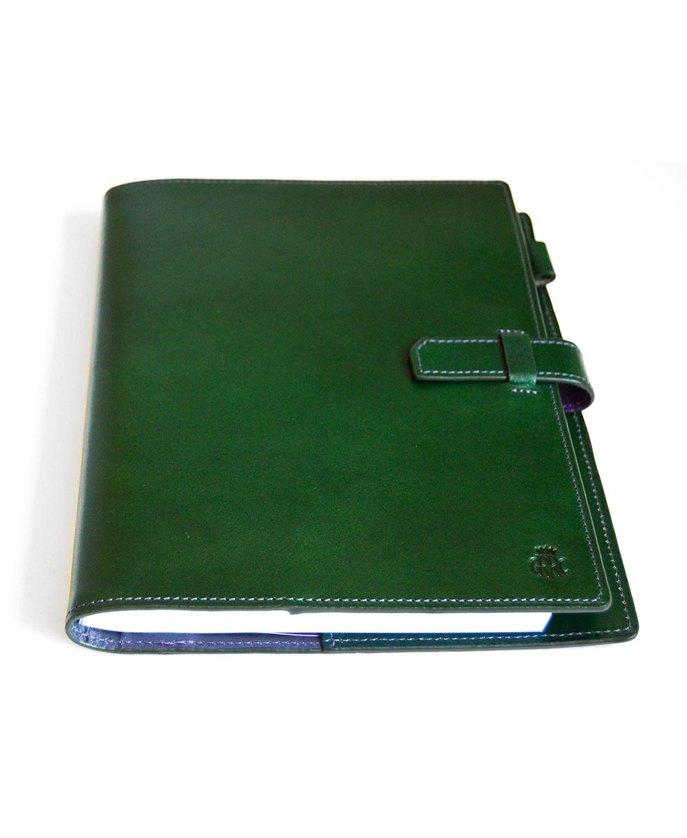 GRRC Leather A5 Journal in Green & Purple