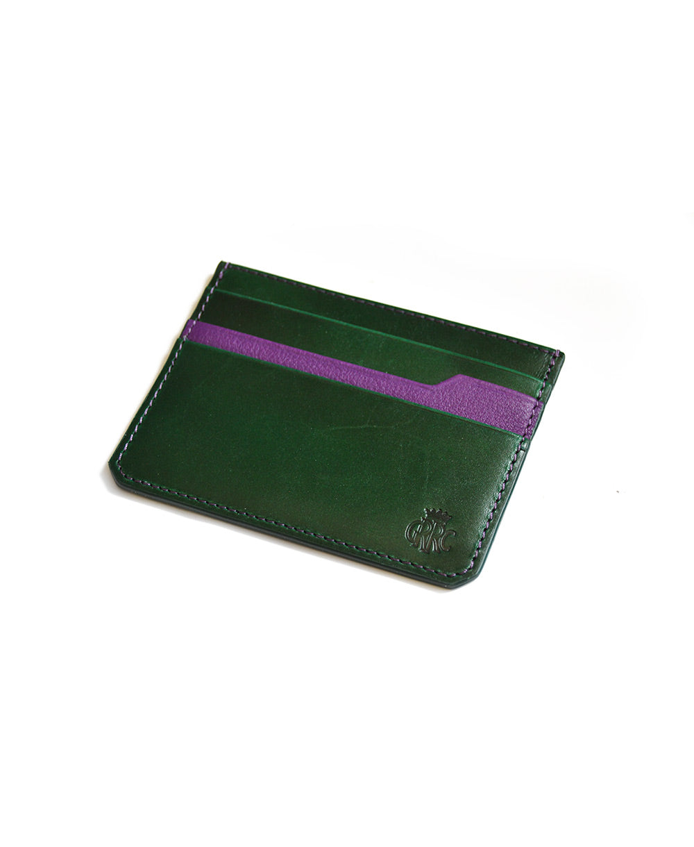 GRRC Leather Card Holder in Green & Purple