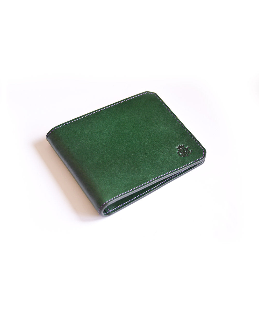GRRC Leather Wallet in Green & Purple