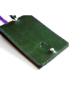 GRRC Leather Luggage Tag in Green & Purple Detail