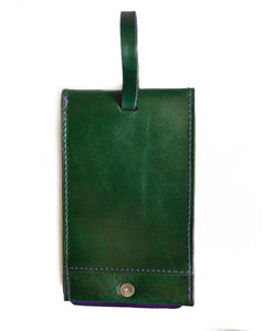 GRRC Leather Luggage Tag in Green & Purple Reverse View