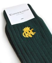 Load image into Gallery viewer, GRRC Cashmere Blend Racing Green Socks Detail
