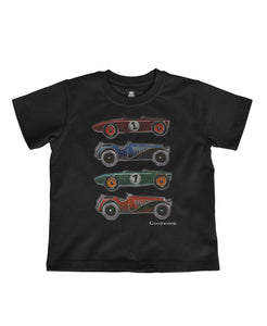 Kids Black Cotton Cartoon Car T-Shirt