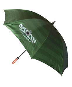 Motor Circuit Geen & White Striped Umbrella with Wooden Handle Top View