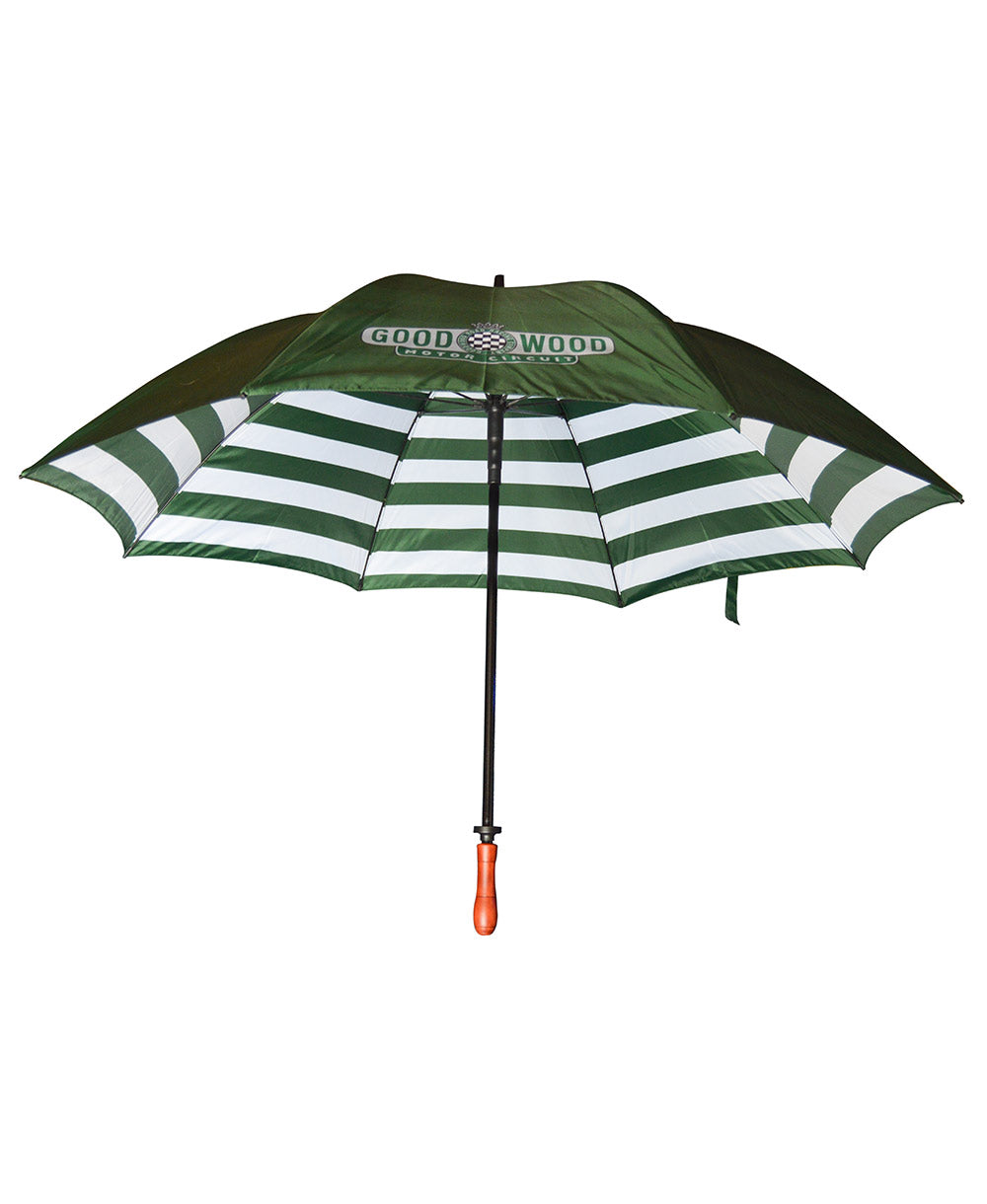 Motor Circuit Geen & White Striped Umbrella with Wooden Handle