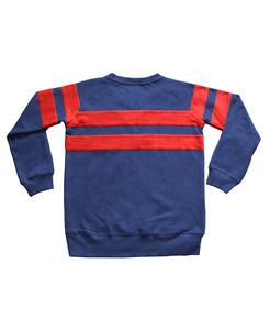 SpeedWeek Stripd Sweatshirt in Blue & Red Back View