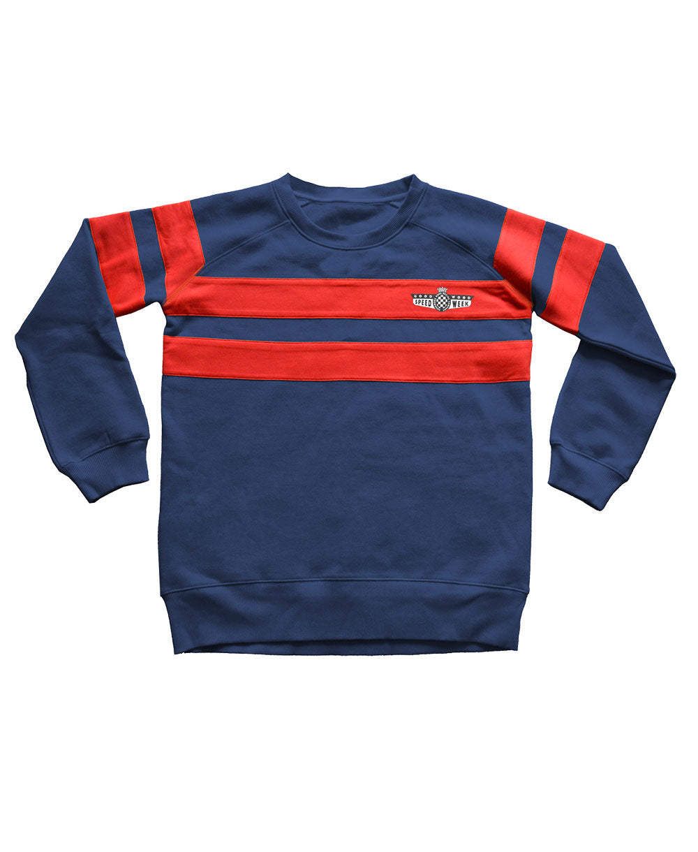 SpeedWeek Striped Sweatshirt in Blue & Red