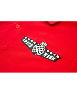 SpeedWeek Red Cotton Polo Shirt Detail