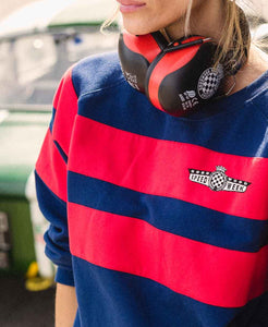 SpeedWeek Striped Sweatshirt Navy and Red Unisex
