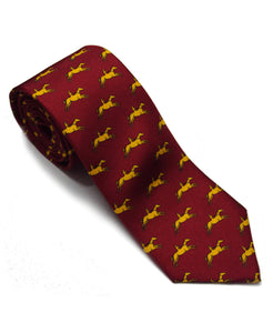 Red & Yellow Racecourse Stubbs Horses Print Silk Tie