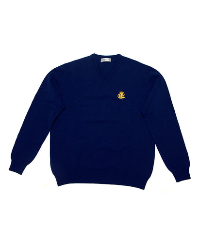 GRRC Lambswool V Neck Men's Sweater Navy