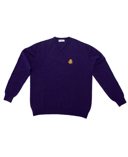 GRRC Lambswool V Neck Men's Sweater Purple