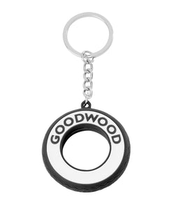 Goodwood Revival White Wall Tyre Rubber Keyring Front