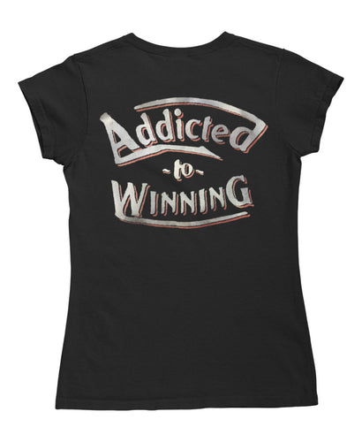 Womens Addicted to Winning Cotton T-Shirt in Black