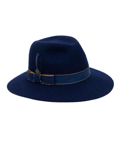 Goodwood Grayson Ladies Hat in Navy with Tan & Navy Ribbon and Blue Feather