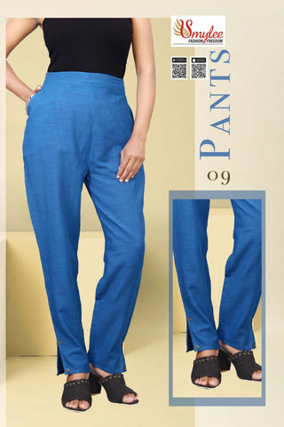 SLUB FABRIC PANTS WITH SIDE POCKET SMYLEE FASHION
