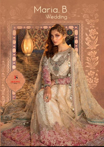 Maria B Wedding By Deepsy SUit With Heavy Embroidery, Jacquard, Santoon, Georgette, Butterfly Net, With Bottom With Dupatta Salwar Suit Wedding Wear