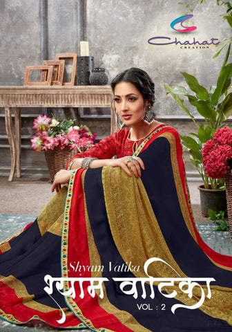 Chahat Creation Shyam Vatika Vol 2 Fancy Weightless Printed With Lace Border Saree With Blouse Cut 6.3 Meter