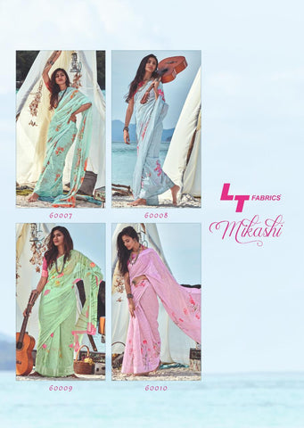 Mikashi By LT fabrics Soft Linen Fabric Saree With Print And Blouse