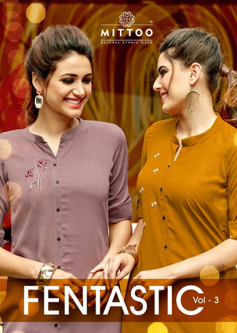 Mittoo Fentastic Vol 3 Rayon Plain Ethnic wear Regular Wear Kurti