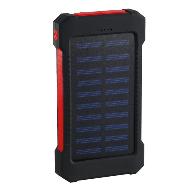 Hot Solar Power Bank Waterproof 30000mAh Solar Charger 2 USB Ports External Charger Powerbank for Xiaomi MI iPhone 8 Smartphone