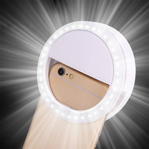 LED Ring Flash Universal Selfie Light Portable Mobile Phone 36 LEDS Selfie Lamp Luminous Ring Clip For iPhone 8 7 6 Plus Samsung