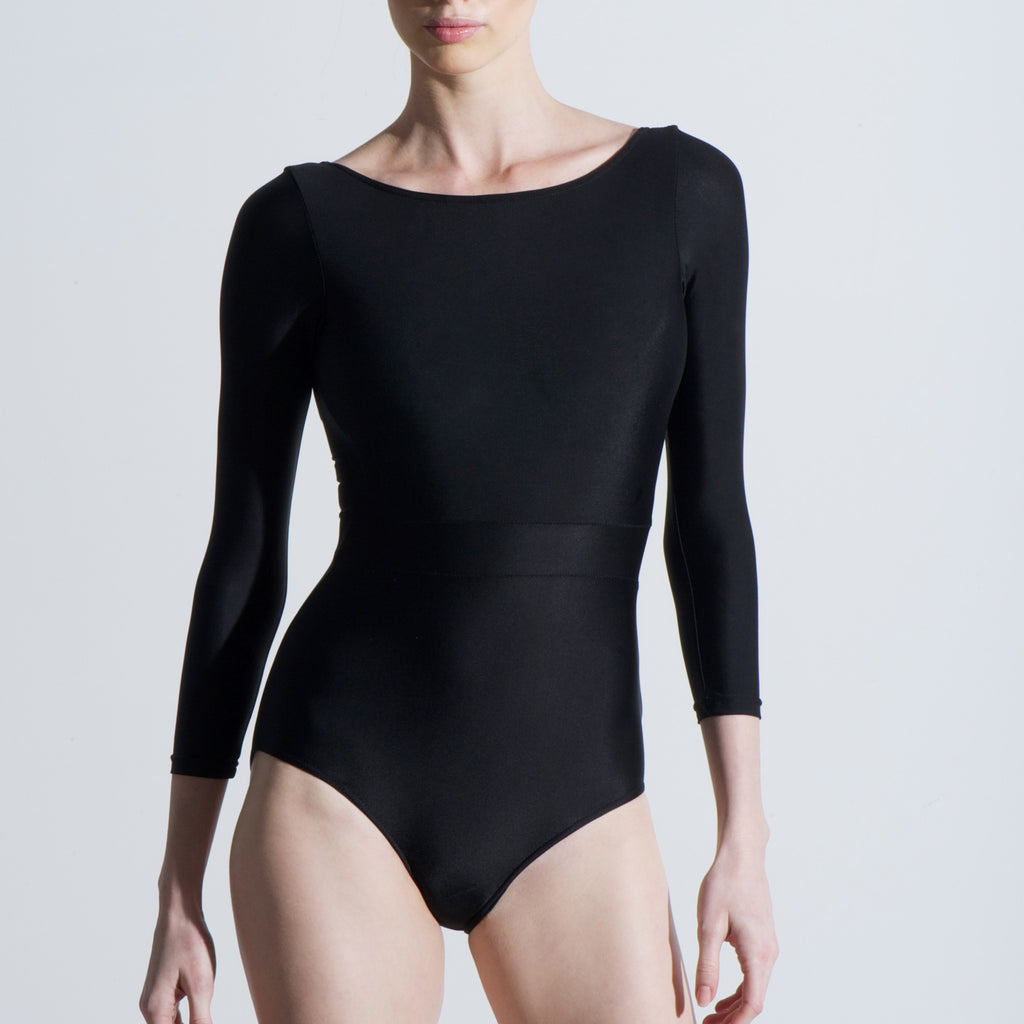 Lauren leotard Balletto Body Black lycra boat neck long sleeve