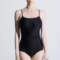 Black spaghetti strap lycra one piece leotard Balletto Body