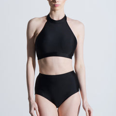 High neck high waisted halter black lycra two piece sports swim and dance set Balletto Body