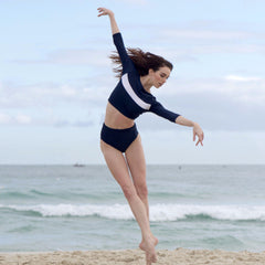 High waisted swimwear ballet brief navy Balletto Body