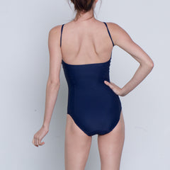 Leotard low back spaghetti strap navy lycra balletto body