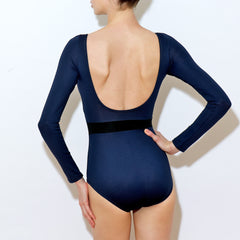 Rear view Lauren leotard Balletto Body navy waist stripe spandex