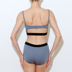 Spaghetti strap two piece high waisted titanium set Balletto Body lycra